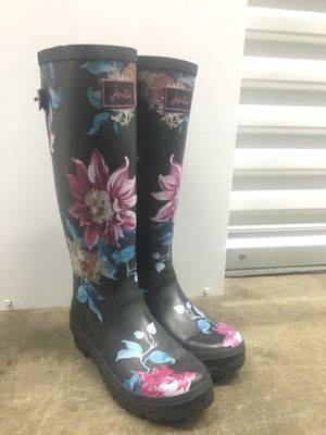 Joules Navy Adjustable Welly Tall Floral Rain Boots for Sale in Vallejo, CA