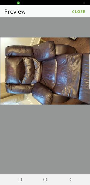 3 seater brown leather reclining couch and brown leather reclining chair for Sale in Pittsburgh, PA