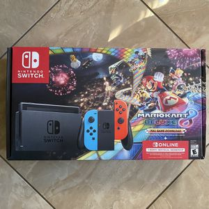 NEW Nintendo Switch Console Mario Kart 8 Deluxe Bundle Neon Blue/Red Joy-Con for Sale in Fontana, CA