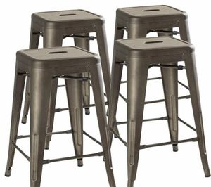 URBANMOD 24 INCH BAR STOOL FOR KITCHEN COUNTER HEIGHT, INDOOR OUTDOOR METAL, RUSTIC GUNMETAL for Sale in Fresno, CA