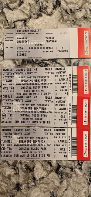 3 lawn tickets to Breaking Benjamin, Three Days Grace and Chevelle for Sale in Raleigh, NC