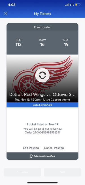 1- Red Wings Ticket for Sale in Plymouth, MI
