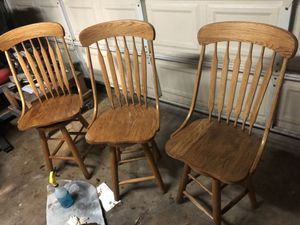 Swivel Bar Stools Chairs Solid Oak for Sale in Costa Mesa, CA
