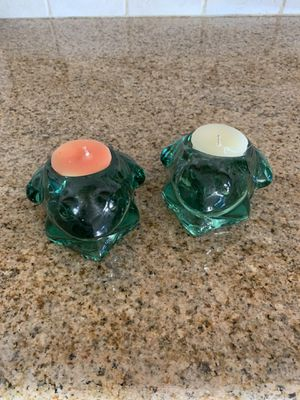 Set of 2 Glass Frog Candle Holders for Sale in Lauderhill, FL