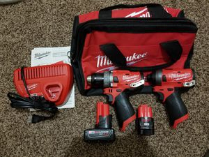 Milwaukee M12 FUEL 12-Volt Lithium-Ion Brushless Cordless Hammer Drill and Impact Driver Combo Kit (2-Tool) w(2) Batteries & Bag for Sale in Modesto, CA