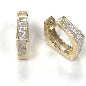 14k Solid Yellow Gold Earrings with Diamonds - 6.8g for Sale in Miami, FL