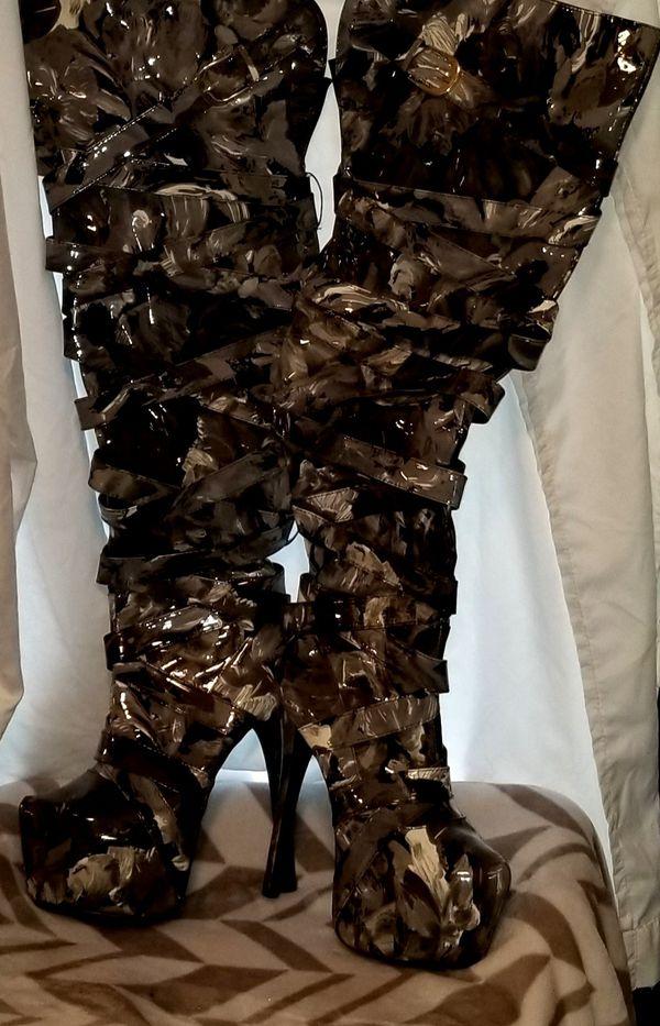 Black/Grey/White Patten Thigh High Stiletto Boots
