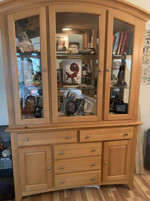 Beautiful solid wood and glass hutch with matching display/shelf unit for Sale in Portland, OR