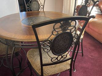 Dining Table & Chairs, Wrought Iron And Wood for Sale in Greensburg,  PA