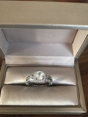 14K white gold plated over 925 marked sterling silver sapphire stimulated diamonds promised engagement ring for Sale in Wood Dale, IL
