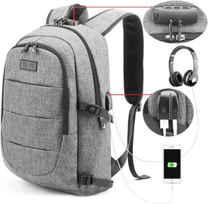 Brand New Backpack Water Resistant Anti-Theft College Bag with USB Charging Port & Lock Business Computer Laptop Luggage Unisex Grey for Sale in Queens, NY