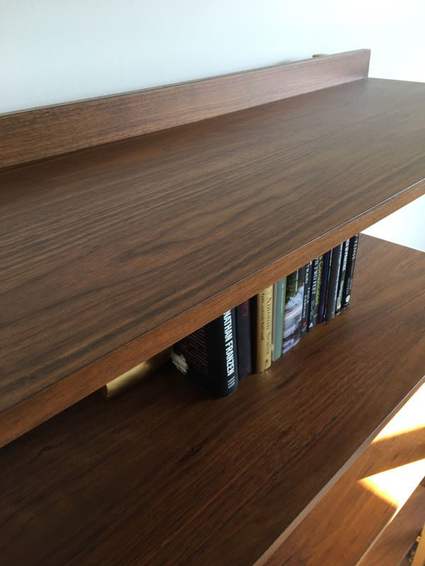 Library/Shelf - Contemporary Walnut Metal Display BRAND NEW (already assembled!)