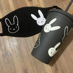 Bad Bunny Matte Black Cup And Face Mask Gift Set for Sale in Wilmington, CA