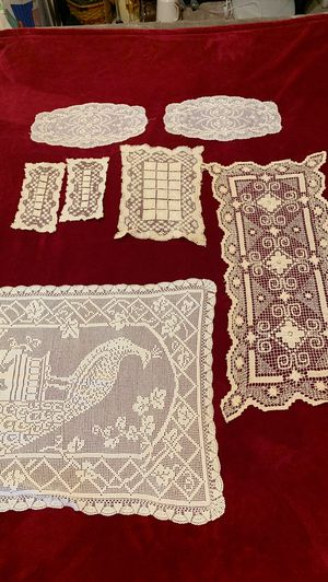 Lace antimacassar table cover hand stitched crocheted antique for Sale in Duvall, WA