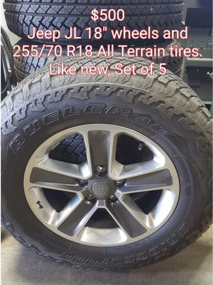 "Set of 5 Jeep JL 18"" wheels and 255/70/18 All Terrain tires. Like new for Sale in Roseville, CA"