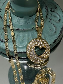 """Heart Gold Plated Pendant With Chain Necklace 18"""" 3mm for Sale in Nashville,  TN"""