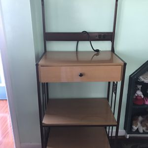 Movable Microwave & Multi use Metal & Wood Rack with Wheels for Sale in Hicksville, NY