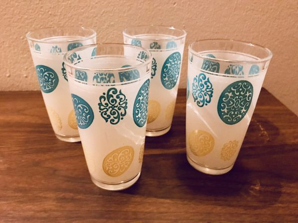 Mid Century teal bar glasses set of 4