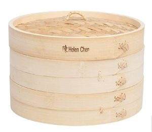 "BRAND NEW WITH TAGS Asian Kitchen Food Steamer with Lid, 10-Inch, Natural Bamboo. Has 2 layers and fits over a 12"" Stir Fry Pan. for Sale in Fort Worth, TX"