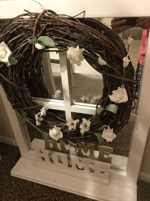 Beautiful window mirror and wreath with Home sign farmhouse style for Sale in Glendora, CA