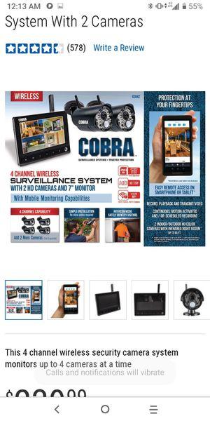Cobra Wireless 4 Channel Surveillance System for Sale in Grand Prairie, TX