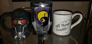3 brand new mugs glass Disney marvel bible verse for Sale in Pflugerville, TX