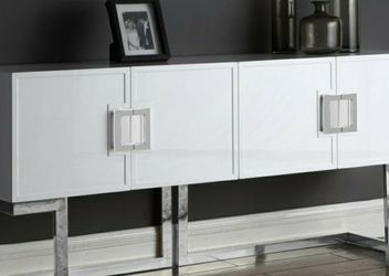 Beth White Lacquer/Chrome Sideboard Buffet for Sale in Arlington,  VA