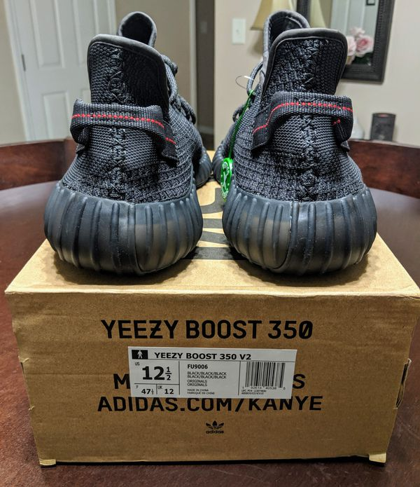 Adidas Yeezy Boost 350 V2 Black (Non-Reflective) Mens Size 12.5
