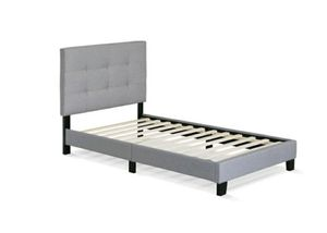 Furinno button tufted bed frame, 12 piece slats Twin Glacier for Sale in Van Alstyne, TX