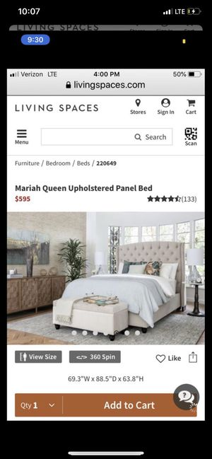 Living spaces upholstered queen bed for Sale in Clinton, TN