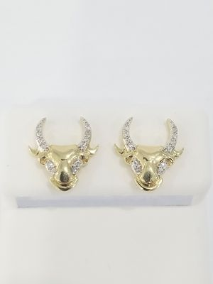 Black Friday Special Real 10k Yellow Gold Diamond Small Bull Symbol Earrings for Sale in Richmond, TX