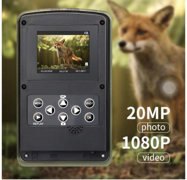 2020 Upgrade Trail Game Camera, PHOCOENA 20MP 1080P Waterproof Hunting Scouting Cam with Night Vision, 80FT Trigger Distance, 120° Wide Angle Lens, 3