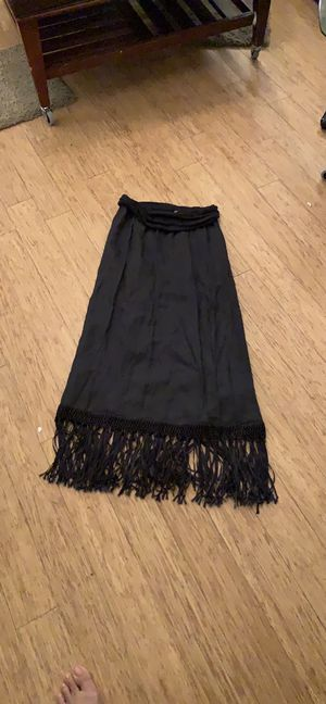 Calypso 100%linen maxi skirt with fold over waist Worn once Fringe in perfect condition Orig $129 Sz Sz for Sale in Charlotte, NC