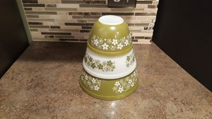 Vintage Pyrex Nesting Mixing Bowls Spring Blossom Green for Sale in Liberty Lake, WA