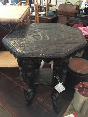 Victorian Hand Carved Burmese Table for Sale in Los Angeles, CA