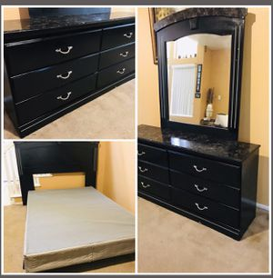 Full side bedroom - drawers dresser with mirror + full size headboard + metal frame bed + brand new box spring for Sale in Bloomington, CA