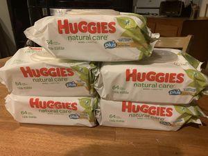 5 Huggies natural care sensitive skin plus+ gentle clean baby wipes 64 wipes in each pack brand new for Sale in Los Angeles, CA