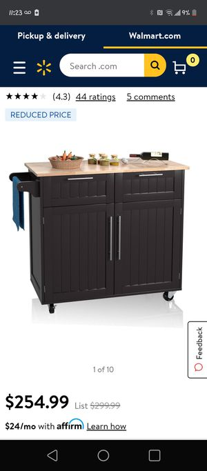 Costway Heavy Duty Utility Modern Rolling Kitchen Cabinet Cart for Sale in Fontana, CA