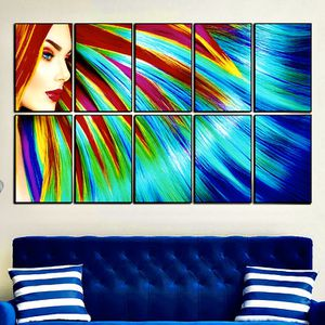 10 piece modern colored hair HD picture poster print with glass frames. for Sale in Fort Lauderdale, FL