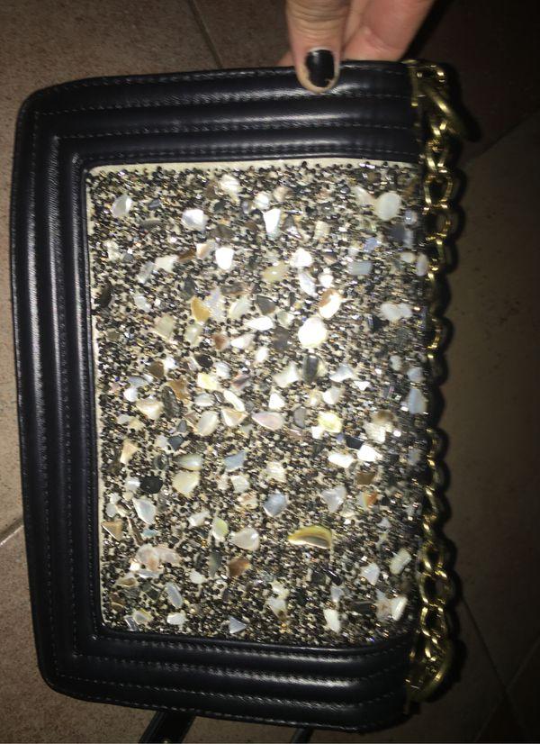 Women's Luxury Evening Bag/Shoulder BOY Black with Stones