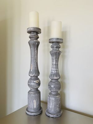 New Traditional Grey Wood Candle Holders - 23'H x 5'W for Sale in Tomball, TX
