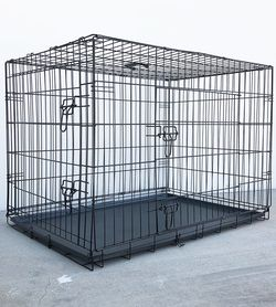 """Brand New $55 Folding 42"""" Dog Cage 2-Door Pet Crate Kennel w/ Tray 42""""x27""""x30"""" for Sale in Whittier,  CA"""