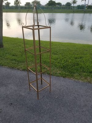 $45.00 - Antique Iron Etagere with (3) Glass Shelves, Use as a Corner Unit too to Display Collectables! for Sale in Miami, FL