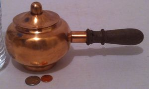 "Vintage Metal Copper and Brass Pot, 9"" Long, Kitchen Decor, Shelf Decor, This Can Be Shined Up Even More for Sale in El Cajon, CA"