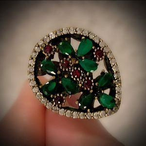 EMERALD RUBY FINE ART RING Size 8 Solid 925 Sterling Silver/Gold WOW! Brilliantly Faceted Pear/Round Cut Gemstones, Diamond Topaz M4183 V for Sale in San Diego, CA