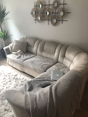 Tan/Neutral Pull-our sectional couch for Sale in New York, NY