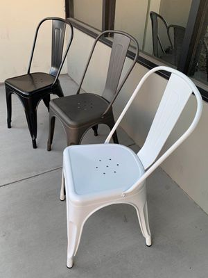 NEW $30 Each Metal Iron Steel Chair Black White or Gun Metal Color Stackable 340lb Weight Capacity Dining Indoor Outdoor Chair for Sale in Whittier, CA