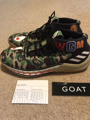 GOAT verified, Adidas Dame 4 Bape, Size 11, Lightly worn for Sale in Phoenixville, PA