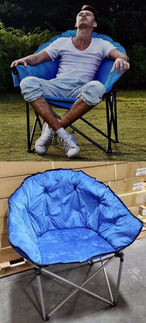 NEW IN BOX Large Padded Cushion Folding Moob Chair Outdoor Camping Fishing Blue or Black with Carrying Bag for Sale in Covina, CA