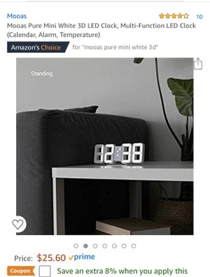 Mooas Pure Mini White 3D LED Clock, Multi- Functions for Sale in Fontana, CA